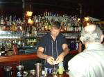 H mixing up a mean Pisco Sour at Le Colonial