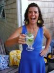 Anne drinking a Serrantro Margarita